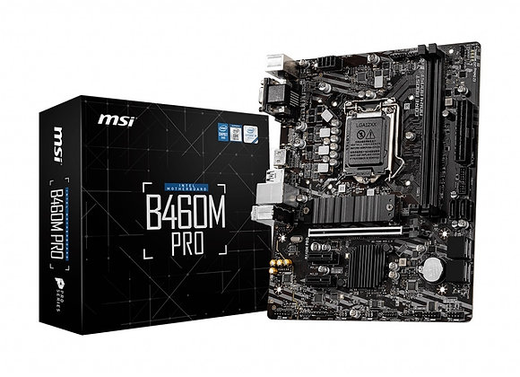 MSI B460M Pro Socket1200 i9 B460 Max64GB PCI Express DVI-D/VGA/HDMI mAtx