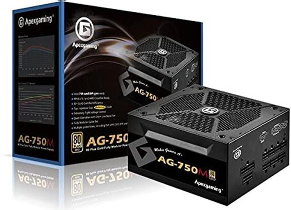 APEXGAMING AG Series Gaming Power Supply (AG-750M), 750W 80 Plus Gold Certified