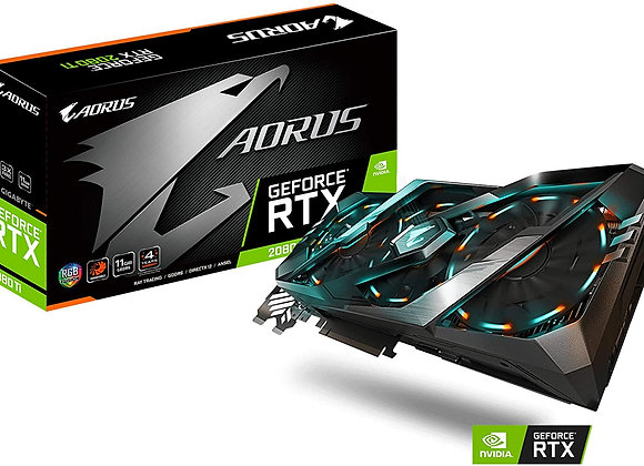 Gigabyte Aorus GeForce RTX 2080 Ti 11G Graphics Card, 3X Stacked Windforce Fans