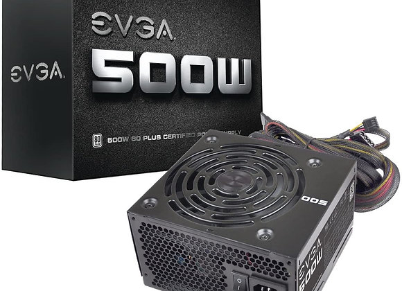 EVGA 100-W1-0500-KR 500 W1, 80+ White 500W, 3 Year Warranty, Power Supply, Black