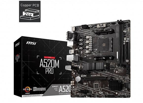 MSI A520M Pro AMD AM4 Ryzen A520 64GB DDR4 PCI Express HDMI/USB mAtx Retail