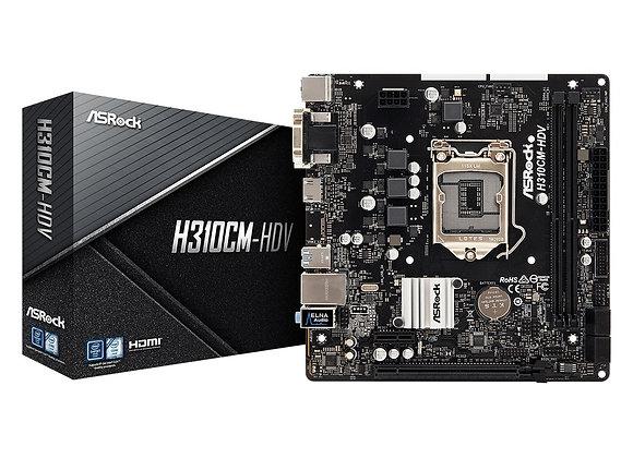 ASRock Motherboard H310CM-HDV S1151 Intel H310 Max.64GB DDR4 PCIE DVI-D/D-Sub