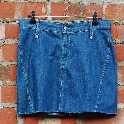 Cropped Denim Mini Skirt