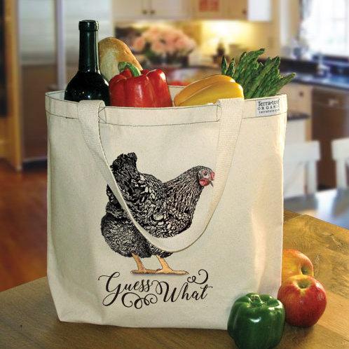 Organic Large Shopper 'Guess What (Chicken Butt)'