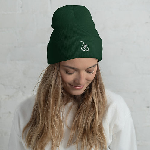 "ॐ ""Om"" Cuffed Beanie with Embroidered White ""Om"""