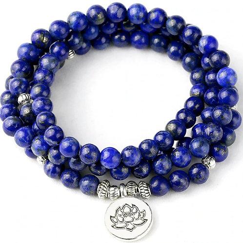 Blue Lapis Lazuli Bead Mala w/Lotus Charm