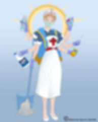 A depiction of the Goddess who destroys Corona Virus