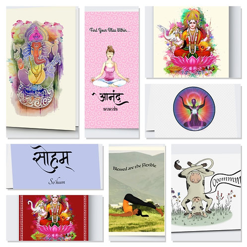Yoga Greeting Cards 8 Design Set