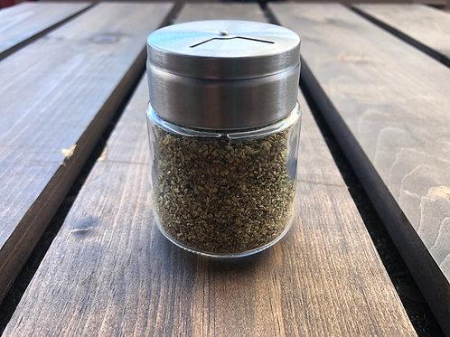 Ontario Garlic Scape Salt; Fine & Semi-Coarse