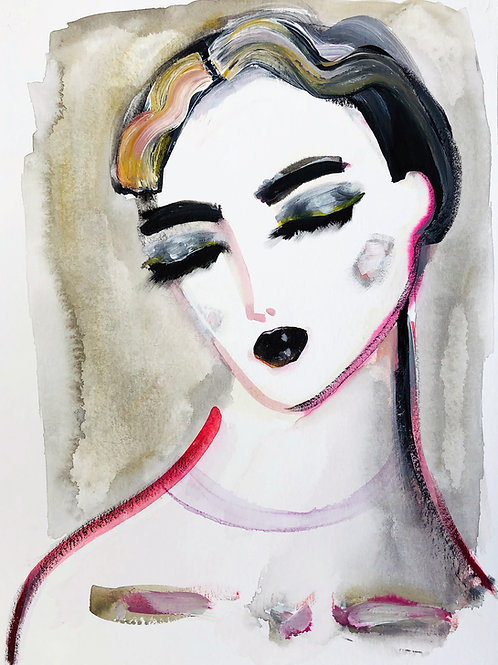 Portrait with black lipstick