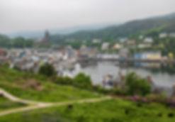 Blick auf Tarbert vom Tarbert Castle