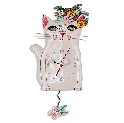 Flower CatPendulum Clock