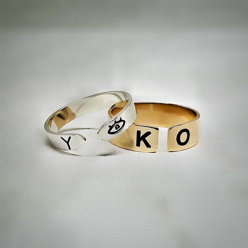 טבעת חריטה פס פתוחה