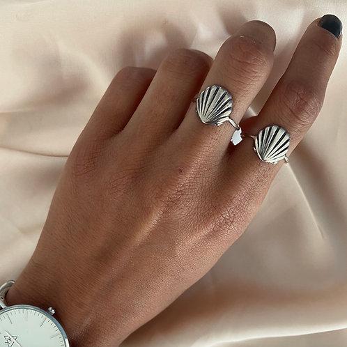 טבעת צדף כסף אמיתי / מוזהב