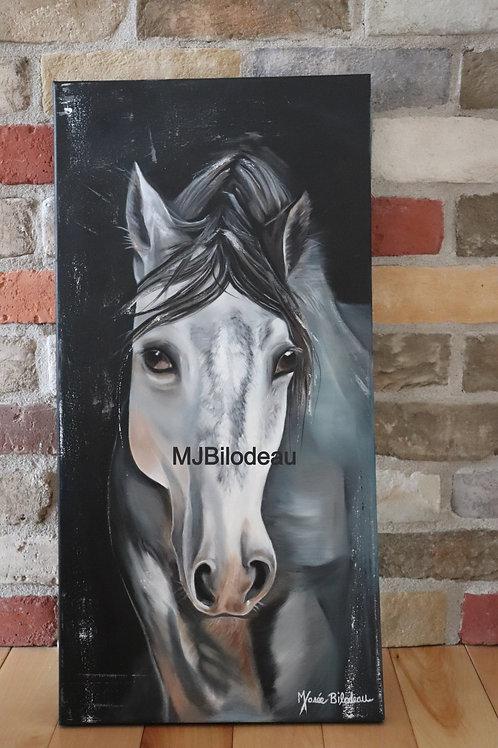 cheval toile huile