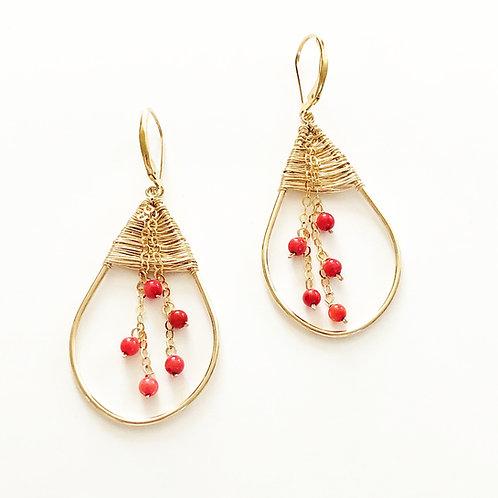 Coral weave Med. Earrings 14k GF