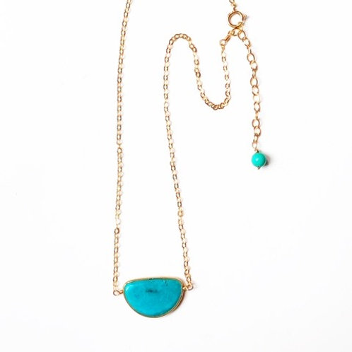 Genuine Turquoise crescent moon Gold Filled necklace