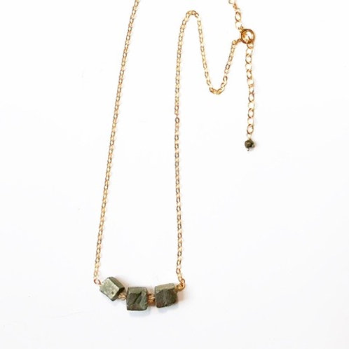 Genuine Raw Pyrite Gold Filled Necklace