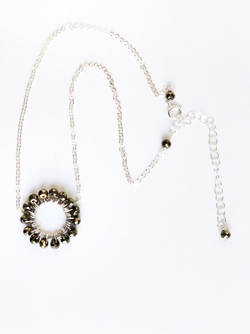 Hematite Hand Wire Circle Necklace