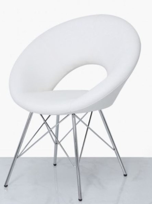 Seating- Orb Chrome And White Faux Leather Chair