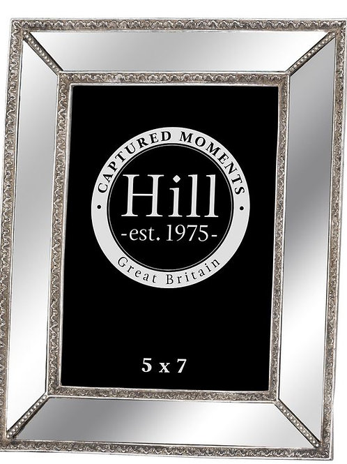 Mirrored Bevelled Photo Frame In Antique Silver With Detailed Edge