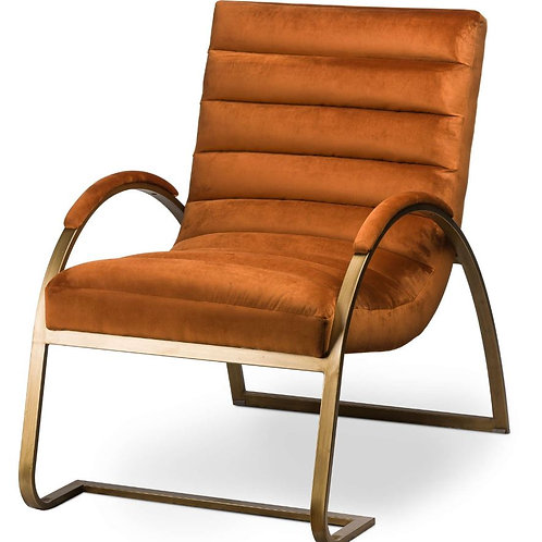Seating- Burnt Orange And Brass Ribbed Ark Chair