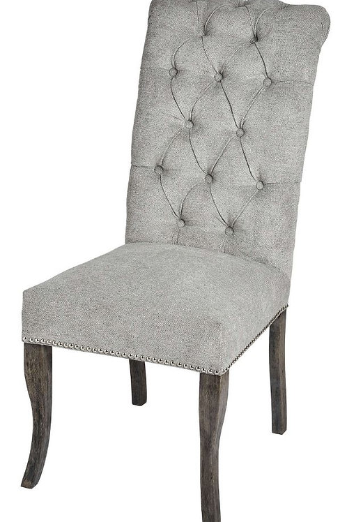 Seating- Silver Roll Top Dining Chair With Ring Pull