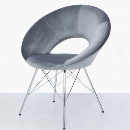 Seating- Orb Chrome And Grey Velvet Chair