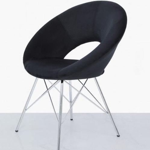 Seating- Orb Chrome And Black Velvet Chair