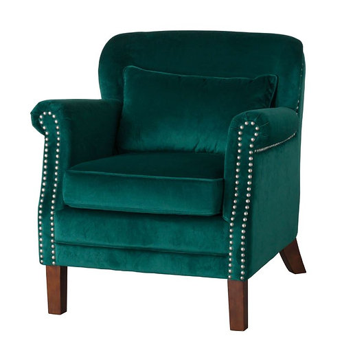 Seating- Emerald Velvet Low Backed Studded Armchair