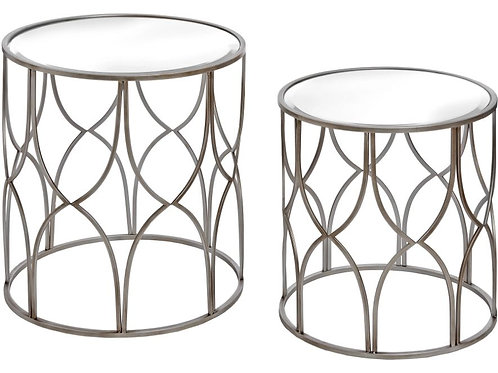 Lattice Silver and Glass Side Tables - Set of 2