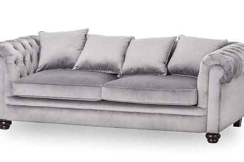 Seating- Grey Velvet Large Chesterfield Three Seater Sofa