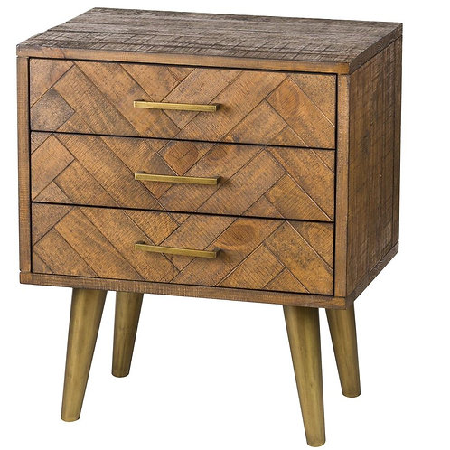 Havanna Gold Herringbone Bedside Drawer Unit