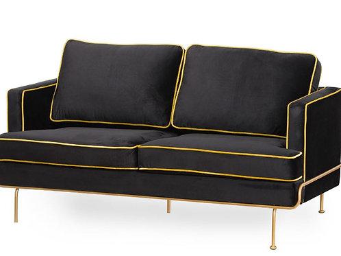 Seating- Orla Black Velvet 2 Seater Sofa