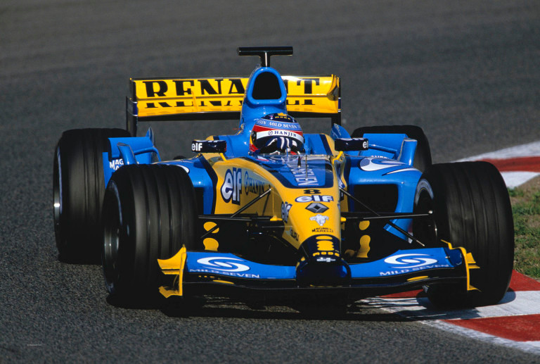 Alonso in pre-season testing in 2004: despite not winning a race, his consistency allowed him to reach 4th in the standings.