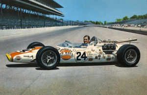Graham Hill in his victorious Lola-Ford at the 1966 Indianapolis 500.