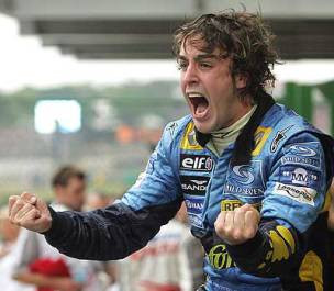 Fernando's pure passion: his famous scream after winning the 2005 title is an iconic image in the history of Formula 1.