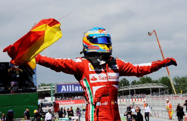 Alonso celebrates victory for Ferrari at his home race in Barcelona in 2013.