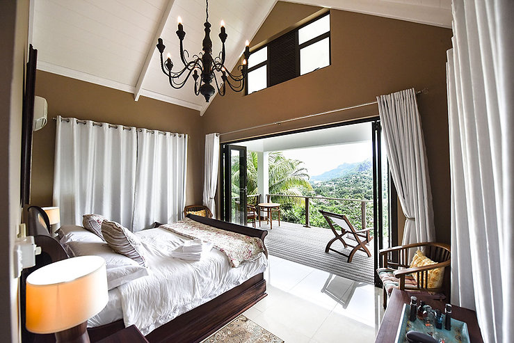 Bedrooms with a view at Coconut Climb, Seychelles.