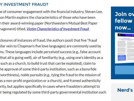 """Victim Characteristics of Investment Fraud"" on Michael Kitces!"