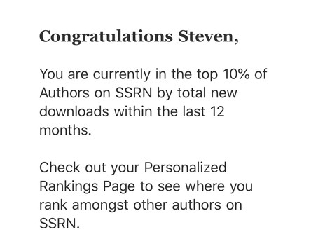 SSRN Top 10% Author!!!