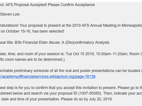 Acceptance to AFS '19!!!