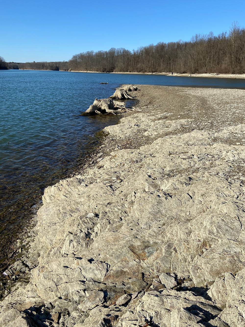 A great example of an offshore prespawn bass fishing location in Pennsylvania. This long point that stretches out into the main lake with deep water on both sides and the main creek channel close by. There is rock and wood along with transitions from sand to gravel. Please note that this area along with the visible shoreline is underwater during the spring and summer when Blue Marsh Lake raises its water levels.