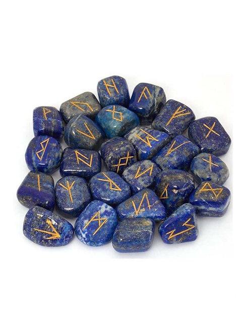 Lapis Lazuli Rune Set, Gold Lettering