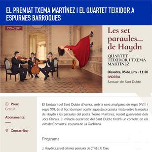 El premiat Txema Martínez i el Quartet Teixidor a Espurnes Barroques