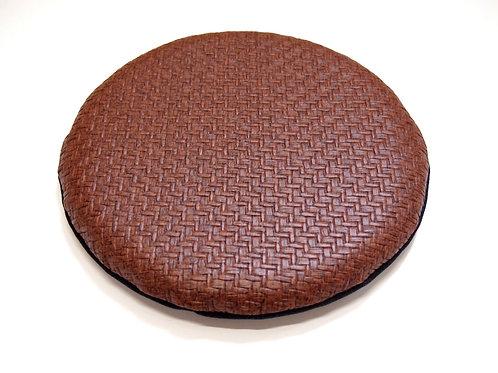 円形PVCレザー座布団<薄型・椅子用> (直径30センチ・柄A-ブラウン系)