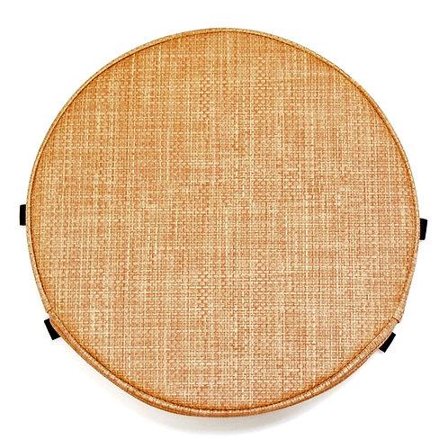 円形PVCレザー座布団<紐固定タブ付き> (直径35センチ・柄B-ベージュ系)