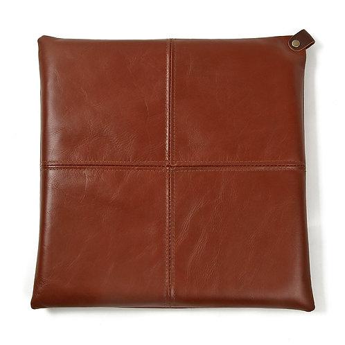 【受注生産】本革レザー座布団クッションS1  (30×30センチ,ブラウン)