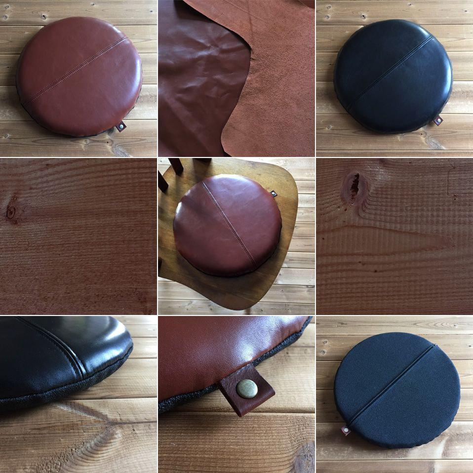 本革の円形レザー座布団クッショントップ画像
