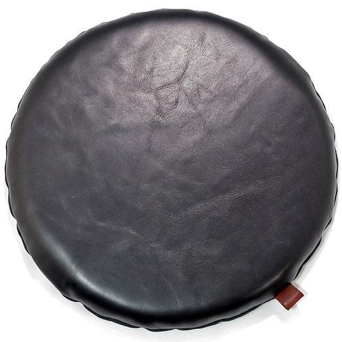 本革座布団・円形レザークッション(直径30センチ・ブラック)
